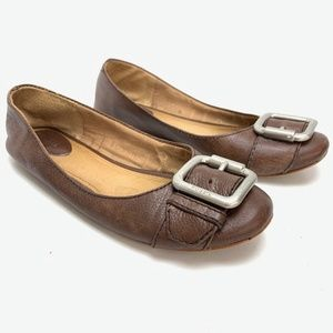 FOSSIL Brown Genuine Leather Flats Slip On Shoes 8